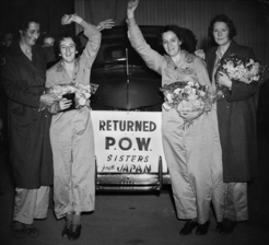POW army nurses welcomed home from Japan, Kay Parker is first from left, 1945