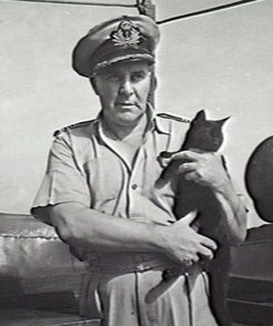 Alfred Knight, with the ship's cat, c.1944