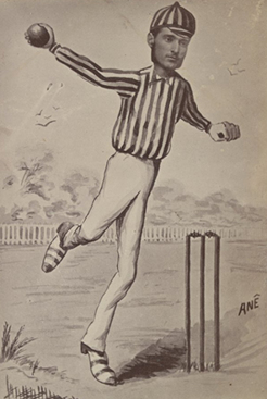 Fred Spofforth (caricature), 1878, by Ane