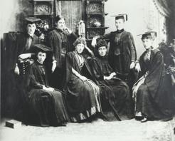 Women medical students, University of Melbourne, 1887; Helen Sexton is first woman standing on the left