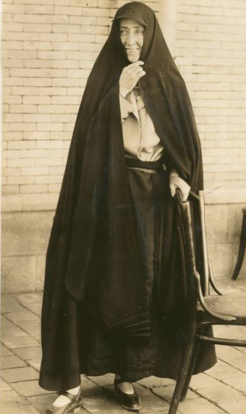 Effie Baker, in the chador that she wore while photographing in Iran in 1830