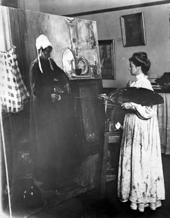 Bessie Davidson,  at work on 'Old Servant', c.1909